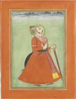 Maharajah Man Singh of Jodhpur (1804-1843) standing within a pavilion alcove Jodhpur, circa 1830(2)