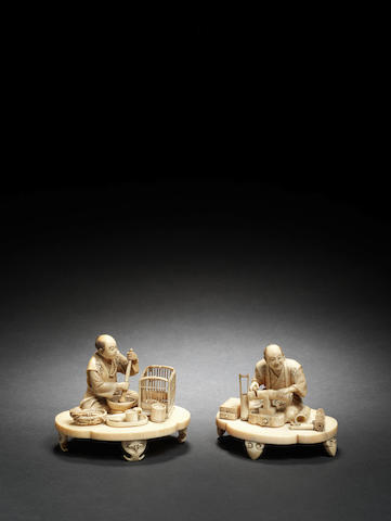 Two ivory okimono One by Kyosai and one by Toshiyuki, Meiji Period