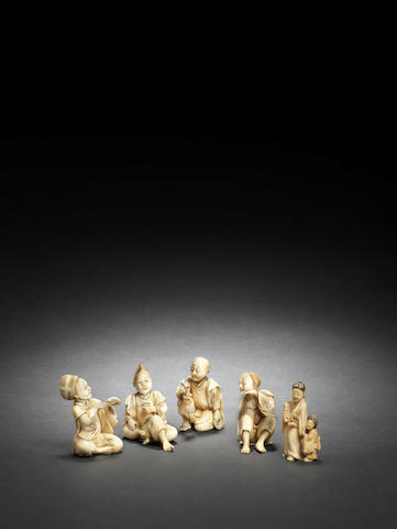 Five small figural okimono Meiji Period