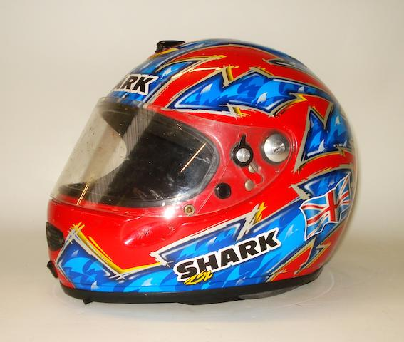 A replica 1998 Season Carl Fogarty World Superbike helmet, by Shark,