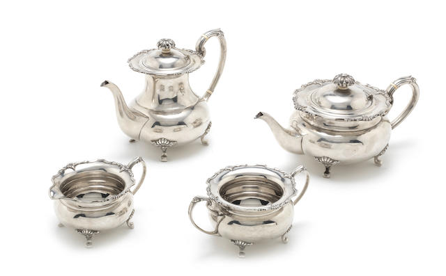 A silver four-piece tea and coffee service by Cooper Bros & Sons, Sheffield 1968  (4)