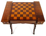 A late Regency mahogany inverted breakfront games table