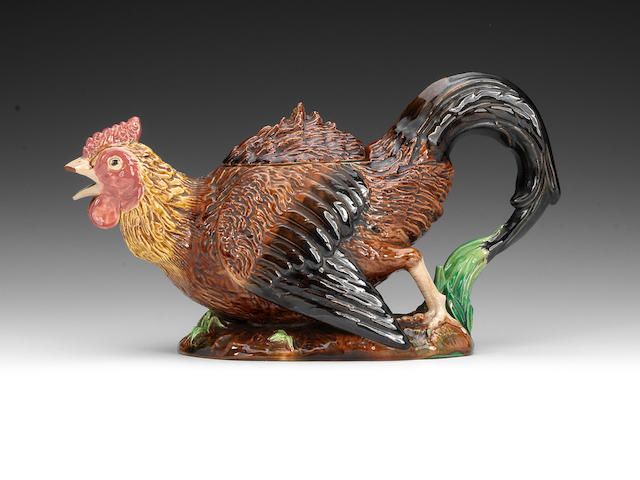 A George Jones Majolica cockerel teapot and cover, circa 1875