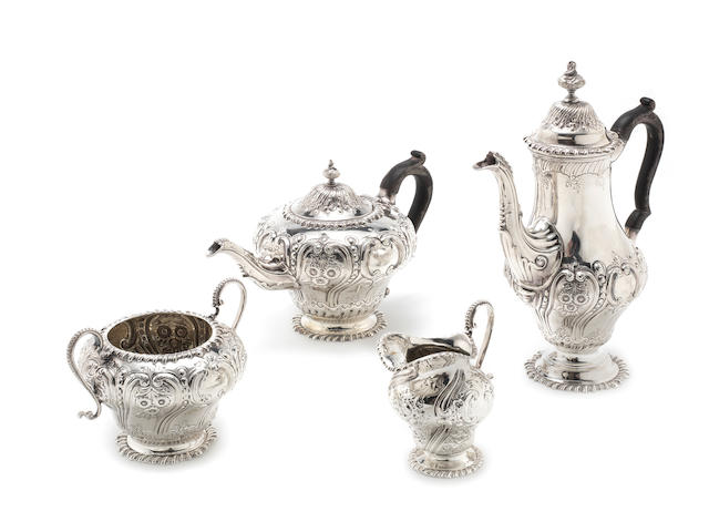 A matched four-piece silver tea and coffee service by Walter & Charles Sissons, London 1903, the cream jug by Mappin & Webb, London 1899  (4)