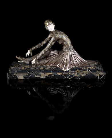 Demetre Chiparus 'Tanara' a Large Cold-painted Bronze and Carved Ivory Figure, circa 1925