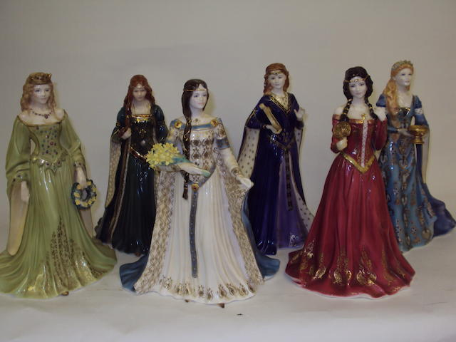 A set of six Royal Worcester limited edition figurines with certificates