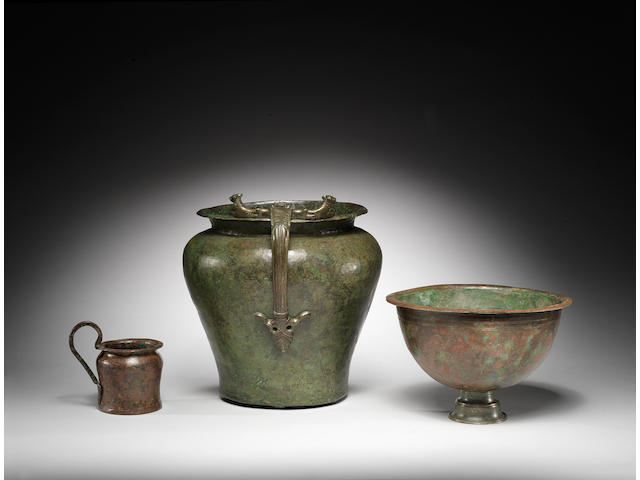Two Etruscan bronze vessels and a Hellenistic bowl, 3