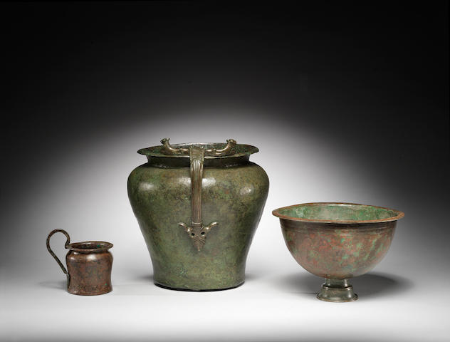 Two Etruscan bronze vessels and a Hellenistic bronze bowl, 3