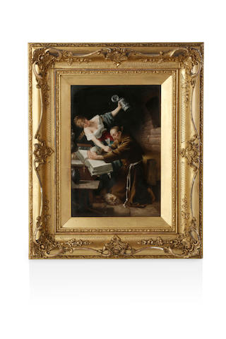 A 19th century rectangular porcelain plaque 'Temptation' after Edvard von Grutzner