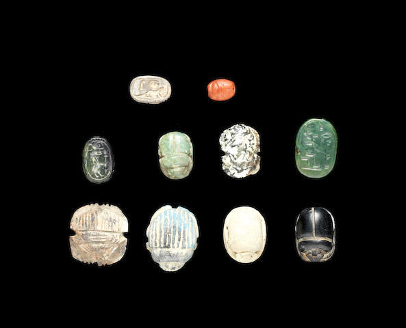 A group of ten Egyptian scarabs 10