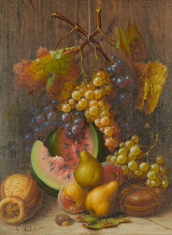 Giuseppe Falchetti (Italian, 1843-1918) Still life of fruit with grapes, watermelon and pears