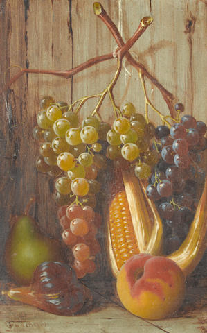 Giuseppe Falchetti (Italian, 1843-1918) Still life of fruit with grapes, corn and a peach