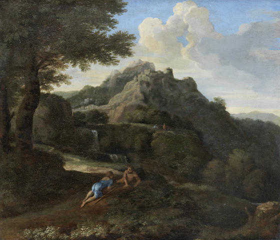 Follower of Gaspard Dughet, called Gaspard Poussin (Rome 1615-1675) Two figures resting in an Italianate landscape before a waterfall, with a village on the horizon
