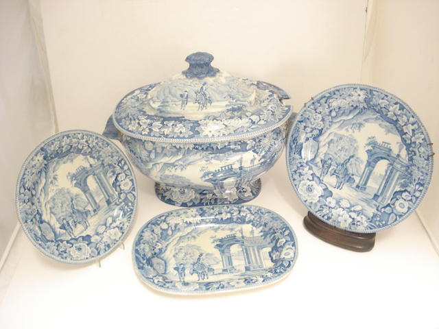 A Georgian Clews earthenware blue and white part dinner service
