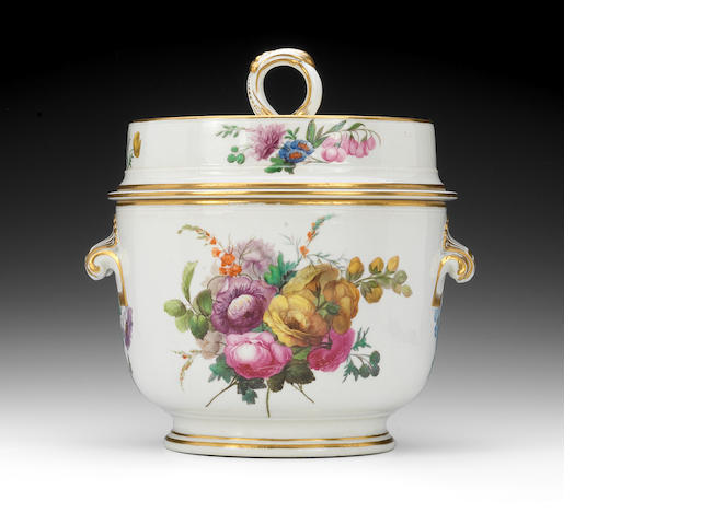 A Derby icepail, cover and liner, circa 1790