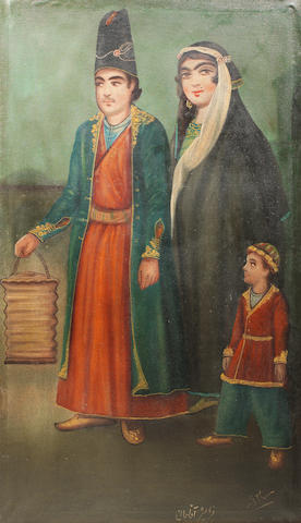 A gentleman with his wife and child, signed by Hasan Isma'il-zadeh Iran, mid-20th Century