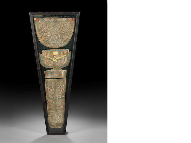 An Egyptian polychrome and gilt cartonnage mummy cover