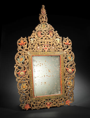 An Ottoman gilt and polychrome decorated wood Mirror Edirne, Turkey, 18th Century