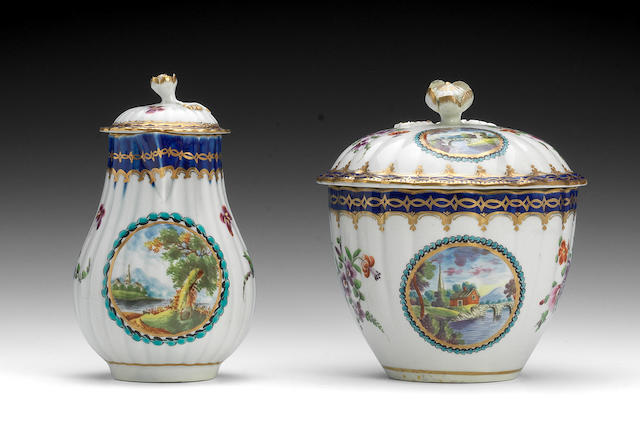 A Worcester sucrier and cover and a milk jug and cover, circa 1780-85