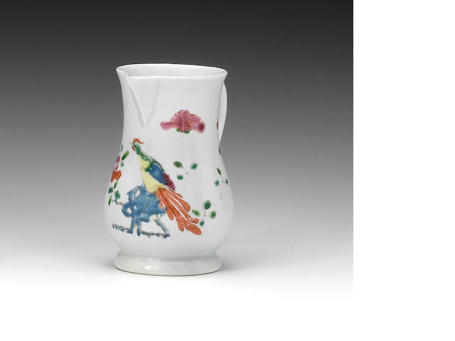 An attractive early Worcester cream jug, circa 1753-54