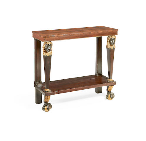 A North European early 19th century rosewood, ebonised and parcel gilt pier table