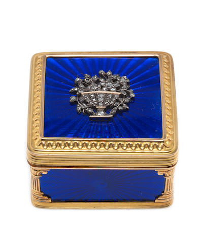 A 1920's diamond-set gold and enamelled box possibly Italian, with later French control marks