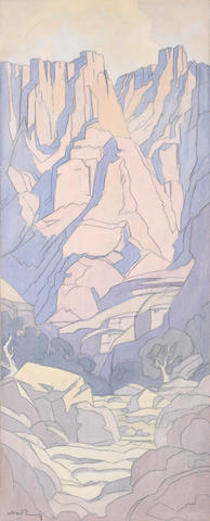 Jacob Hendrik Pierneef (South African, 1886-1957) 'East Buttress, Drakensburg' and 'Mont aux Sources': a pair of landscape studies for the murals at South Africa House, London 73 x 28cm (28 3/4 x 11in) each