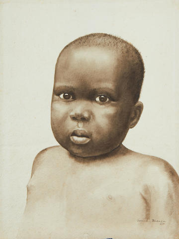 Gerard Bhengu (South African, 1910-1990) Portrait of a young boy