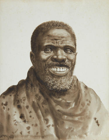 Gerard Bhengu (South African, 1910-1990) Portrait of a man smiling