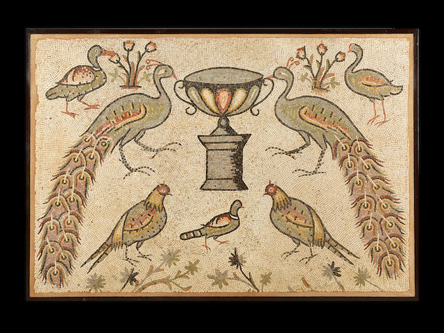 A large Late Roman mosaic panel with peacocks