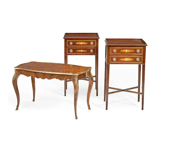 A pair of mahogany and inlaid bedside tables together with a French Transitional style kingwood parquetry low table