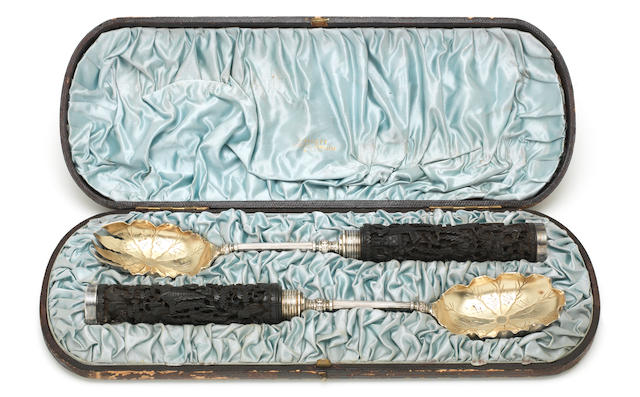 An unusual pair of electroplated salad servers circa 1880,  (Qty)