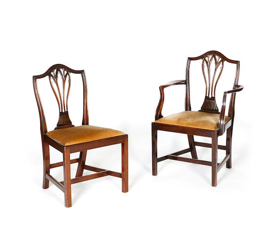 A set of eight George III style mahogany dining chairs First quarter 20th century