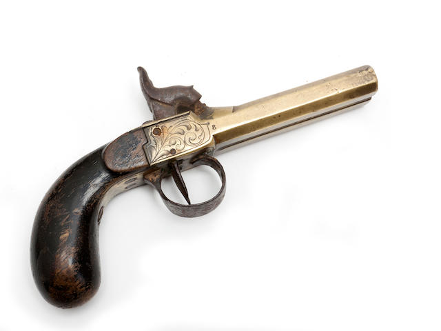 A Belgian brass double barrelled 80 bore percussion pistol