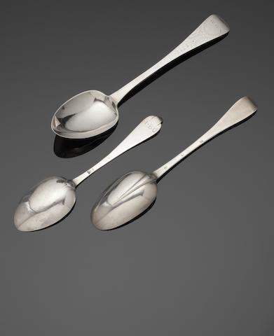 Three spoons: a silver trefid, a Hanoverian silver spoon together with a Channel Islands spoon the first maker's mark script TA only, the second RP in a heart shaped device struck thrice, similar mark see Jackson's page 519, the third maker's mark only, by Jacques Quesnel, Jersey  (3)