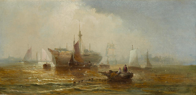 William Thornley (British, 1857-1898) Off the coast of Dover, a pair each 20 x 40.5cm (7 7/8 x 15 15/16in), (2).