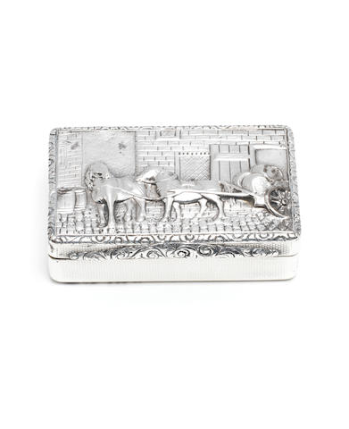 A Victorian silver  snuff box probably by Dennis Ransom, London 1837, see Grimwade, 'London Goldsmiths 1697-1837' (London 1976), page 358