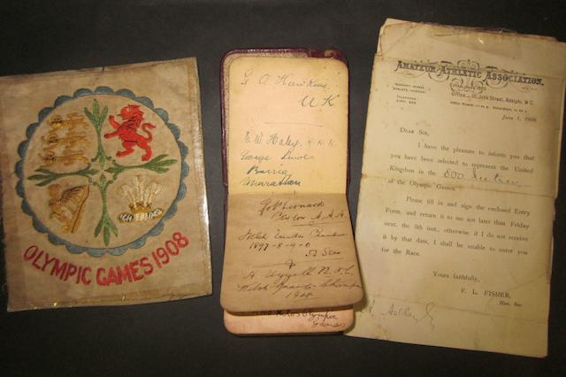 1908 Olympic Games autograph book, cloth badge and selection letters - Arthur Astley