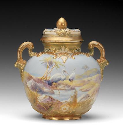 A Royal Worcester vase and cover by Walter Powell, dated 1910