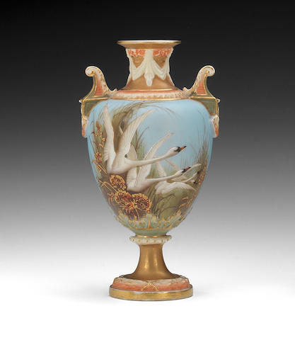 A Royal Worcester vase by Charley Baldwyn Dated 1900