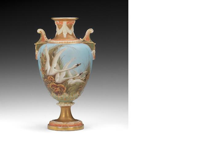A Royal Worcester Charles Baldwyn Swan vase