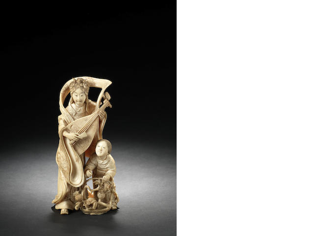 An ivory figural group of Benten and attendant Meiji Period