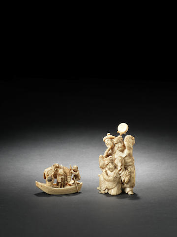 Two small ivory figural okimono One by Ono Seimin and one by Ono Ryomin, Meiji Period