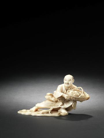 An ivory figure of a gardener By Jyoshun/Shizuharu, Meiji Period