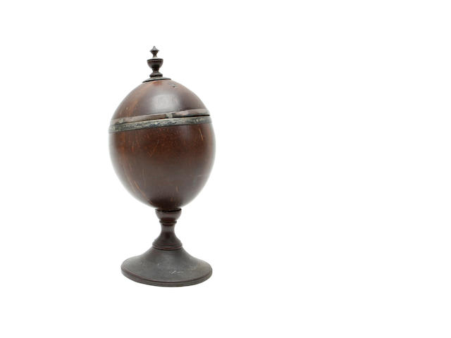 An 18th century white metal coconut cup and cover