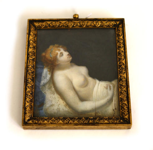 A 19th century miniature of a reclining female nude