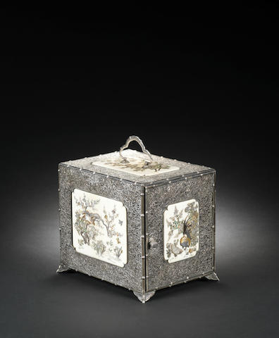 A silver, ivory and Shibayama-inlaid kodansu (table cabinet) By Shonen and Kazukiyo, Meiji Period