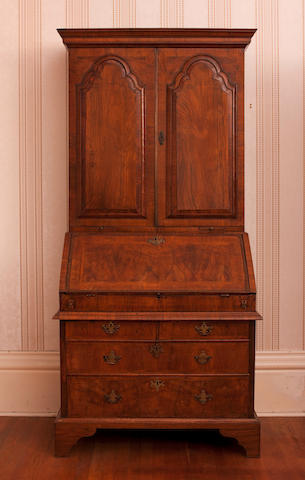 A George I walnut bureau bookcase, circa 1730