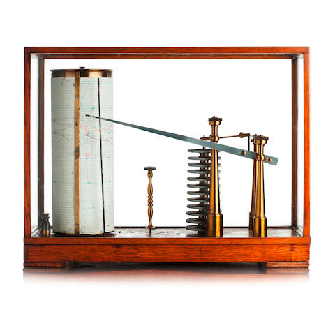 An early 20th century large brass and oak cased barograph