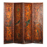 A Victorian painted leather four-fold screen